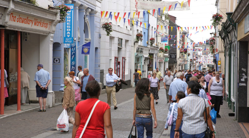 tourists in falmouth town